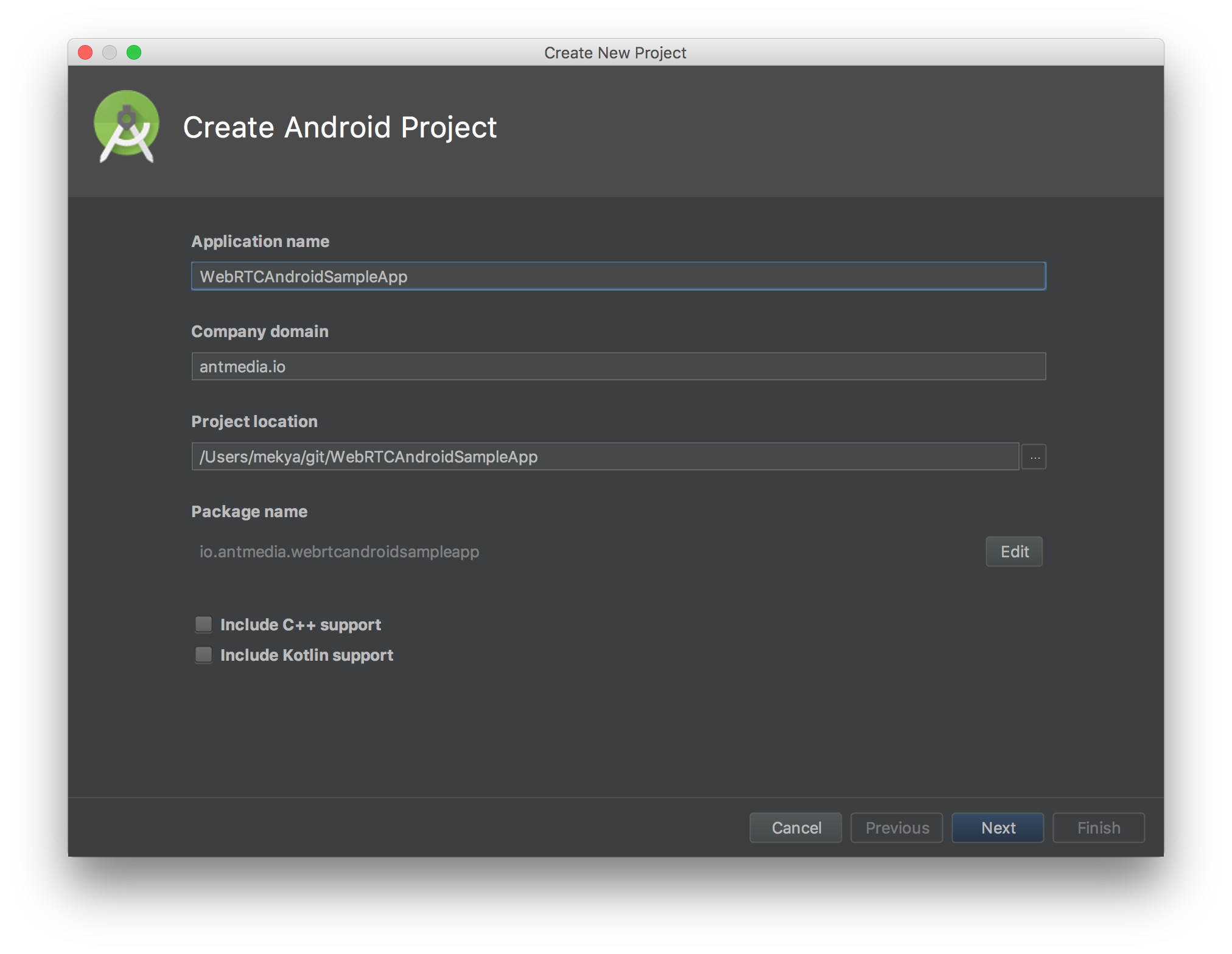 Create Android Studio Project For WebRTC Native Android SDK