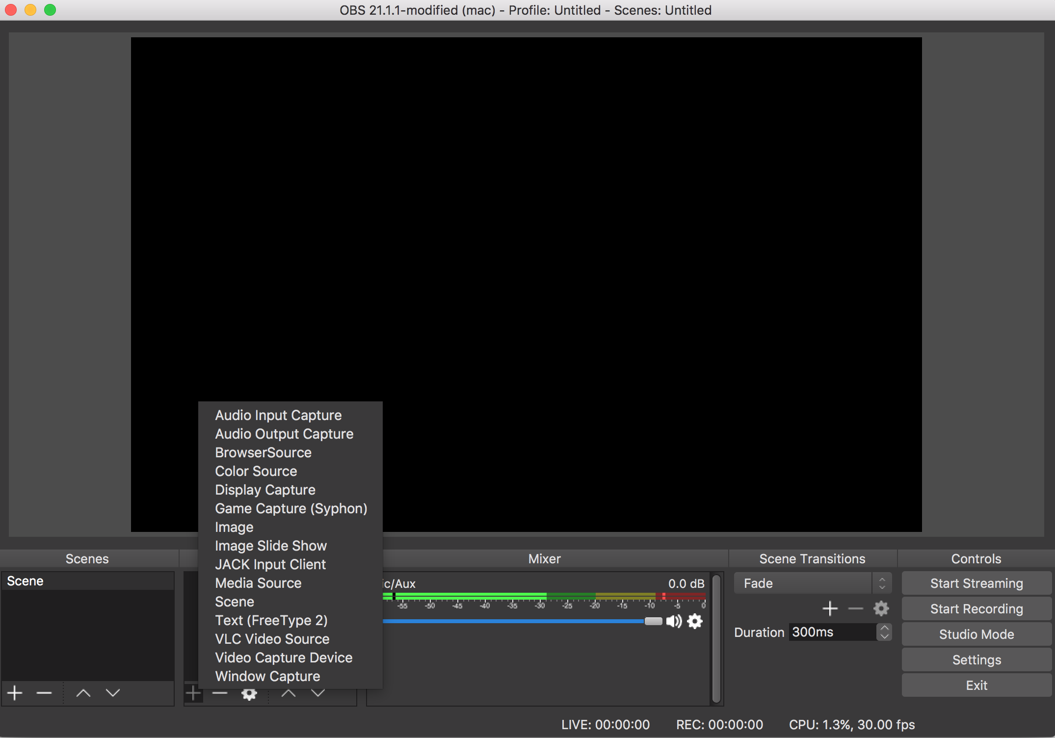 OBS (Open Broadcaster Software) interface