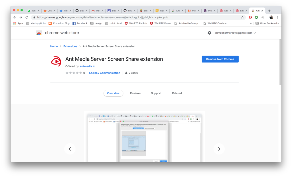 Install WebRTC Screen Sharing Extension