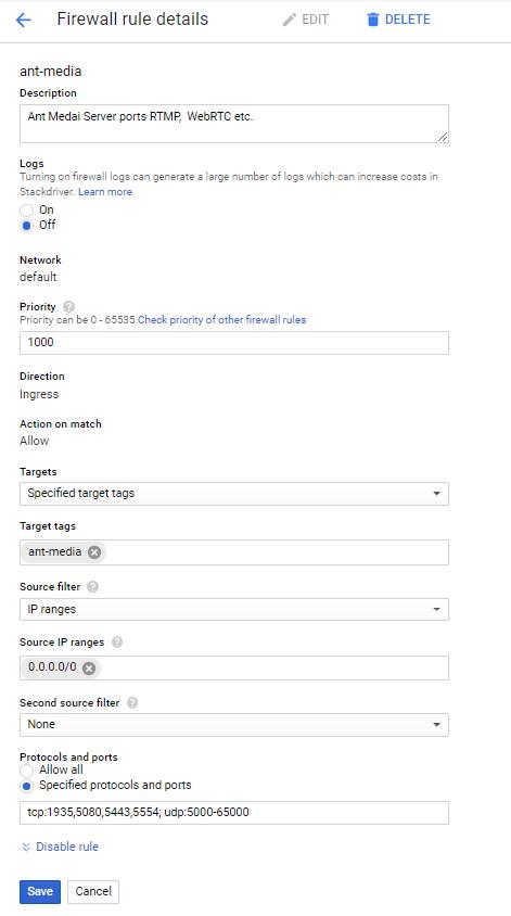 google cloud güvenlik duvarı kuralı detayları