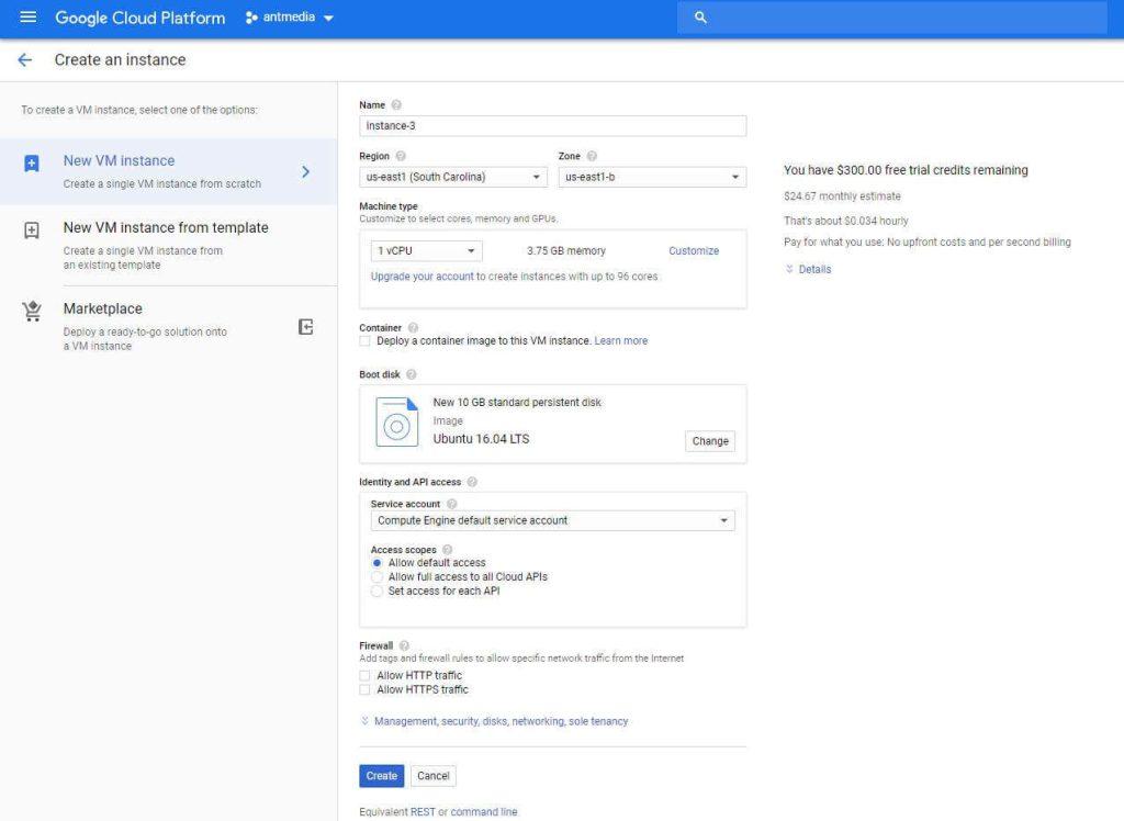 Google Cloud Platform Create New Instance