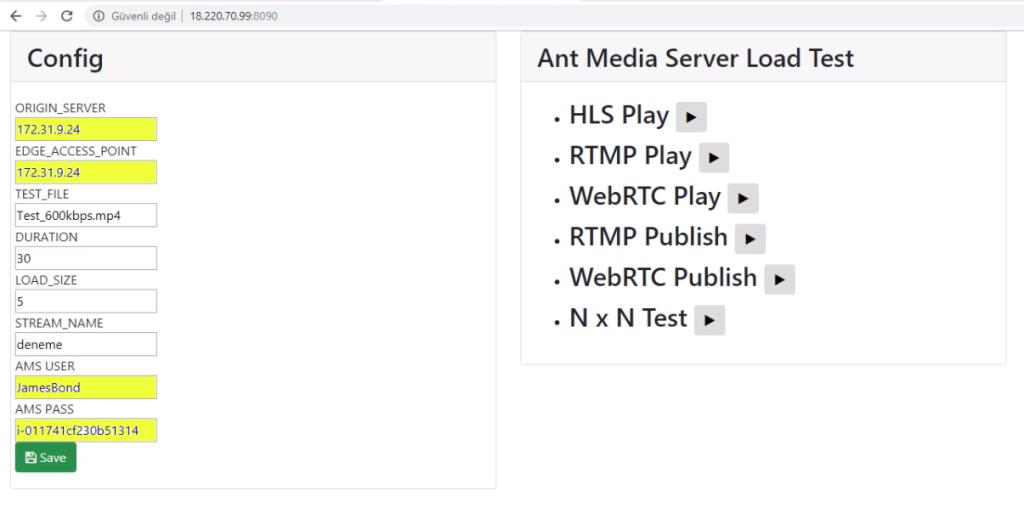 Antmedia Test Server Settings