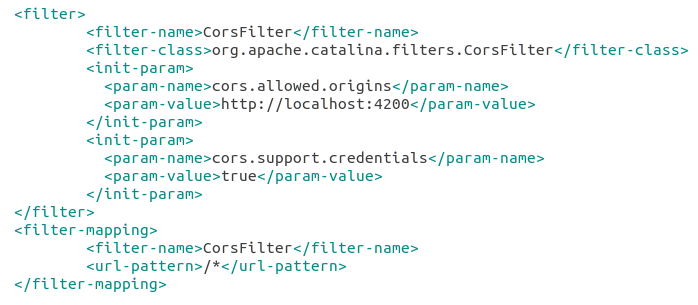 CORS Filter Setting in root