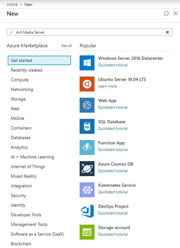 Azure Marketplace listing Ant Media Server