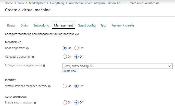 Management section in Azure Marketplace Virtual Machine