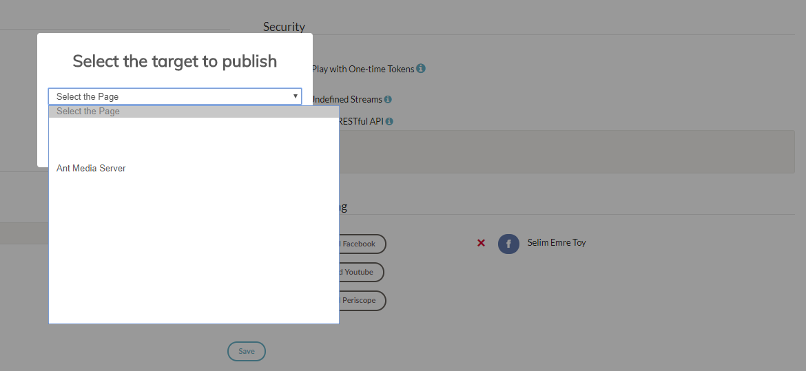 Select Facebook Fan Pages and Profile Page in Ant Media Server