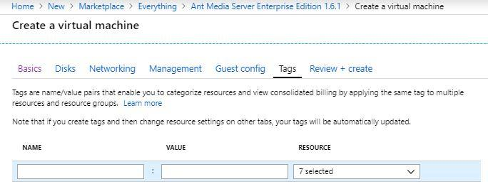 Tags Config section in Azure Marketplace Virtual Machine